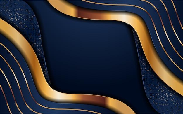 Fondo azul marino abstracto combinado con elemento de líneas doradas. elemento de diseño gráfico.