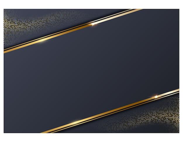 Fondo azul marino abstracto con marco de línea dorada