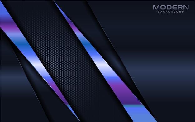 Fondo azul marino moderno con elemento de líneas azules brillantes coloridas