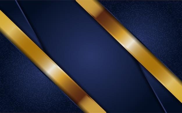 Fondo azul marino oscuro abstracto con líneas doradas
