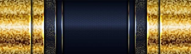 Fondo azul marino oscuro de lujo con capas superpuestas de líneas doradas