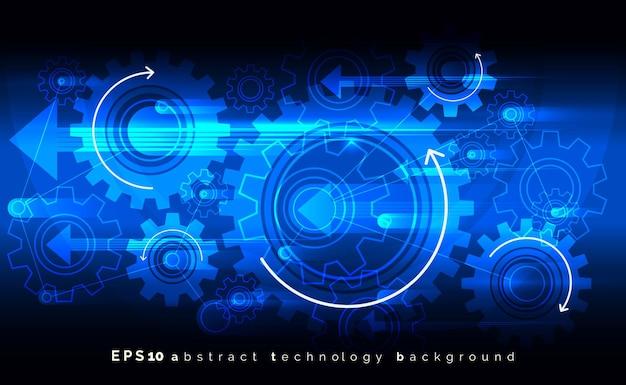 Fondo azul mecánico con engranajes. concepto de ruedas dentadas de ingeniería digital. rueda dentada del engranaje