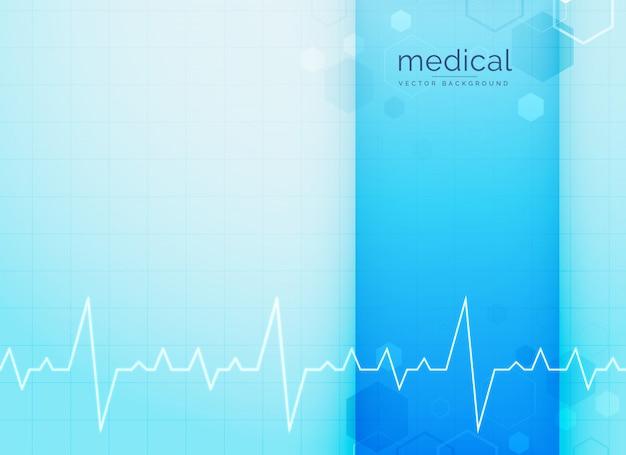 Fondo azul médico y ciencia con línea de latido del corazón