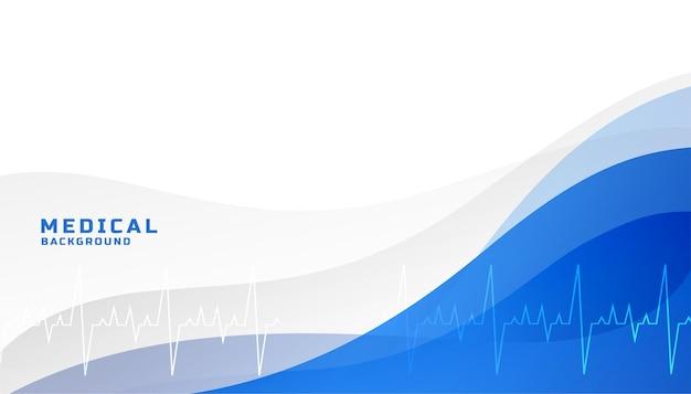 Fondo azul médico de salud con línea de vida