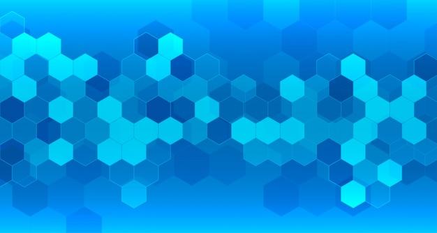Fondo azul médico y sanitario con formas hexagonales.