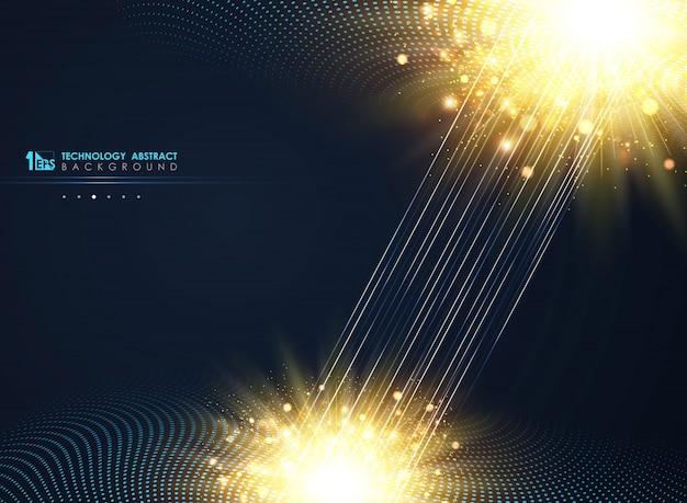 Fondo azul mínimo de semitono del círculo moderno de la tecnología.