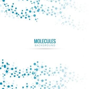 Fondo azul con moléculas