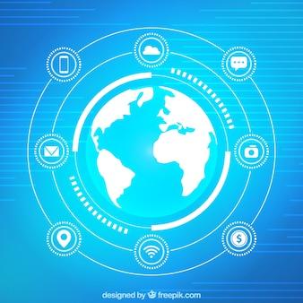 Fondo azul de mundo e internet