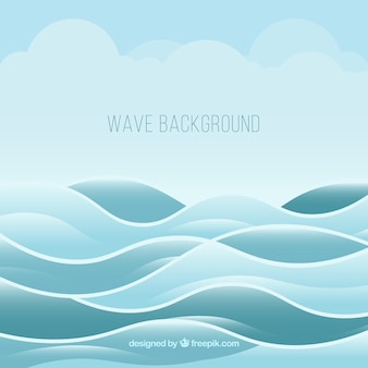 Fondo azul de olas y nubes