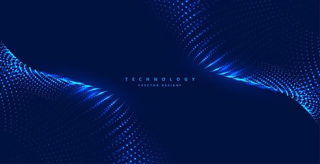 Fondo azul con onda de partículas