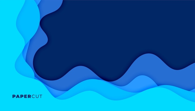 Fondo azul ondulado papercut que fluye con espacio de texto