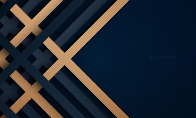 Fondo azul oscuro abstracto con fondo de tecnología con textura de línea dorada