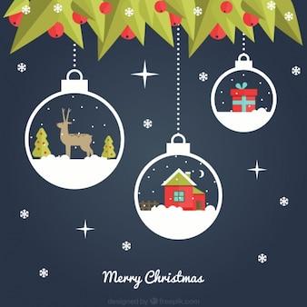 Fondo azul oscuro con bolas decorativas de navidad colgando