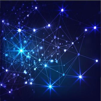 Fondo azul oscuro con conexiones brillantes