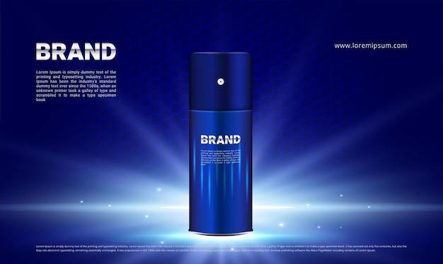 Fondo azul oscuro e iluminación para hombres cosméticos