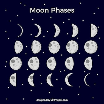 Fondo azul oscuro con fases lunares