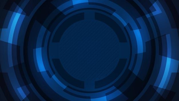 Fondo azul oscuro con forma redonda.