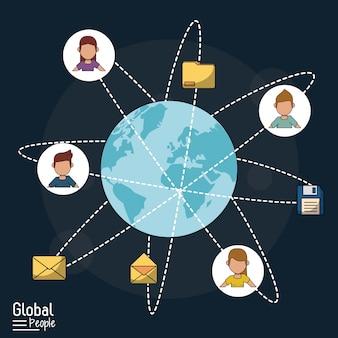 Fondo azul oscuro con globo mundial y comunicación global