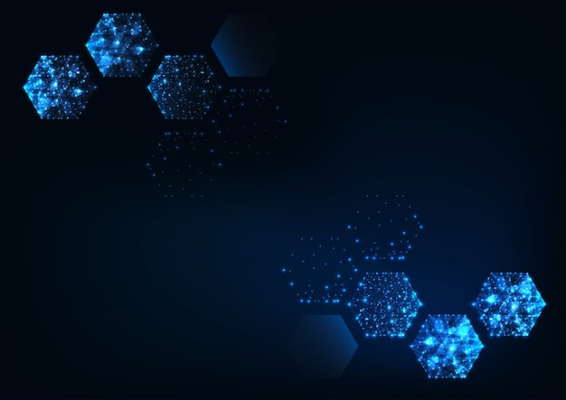 Fondo azul oscuro hexagonal científico futurista con espacio para texto.