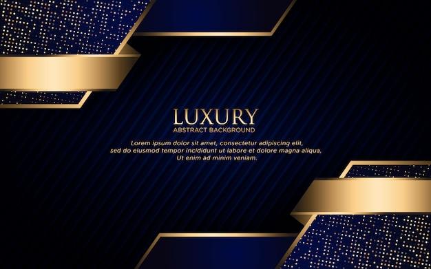Fondo azul oscuro de lujo con forma geométrica y brillo dorado