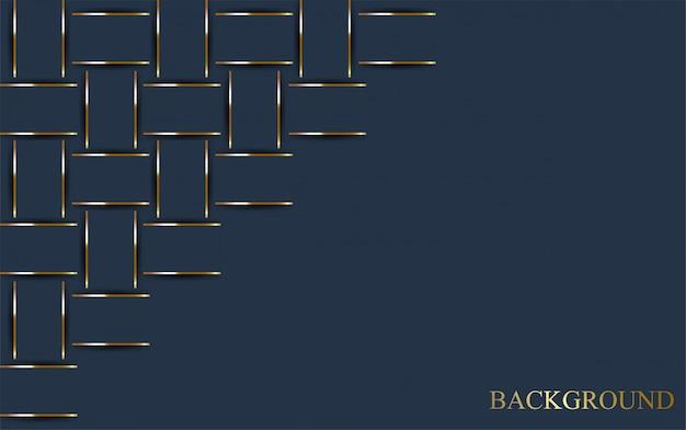 Fondo azul oscuro de lujo con línea de oro.