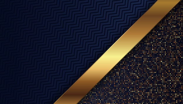 Fondo azul oscuro de lujo con puntos dorados brillantes