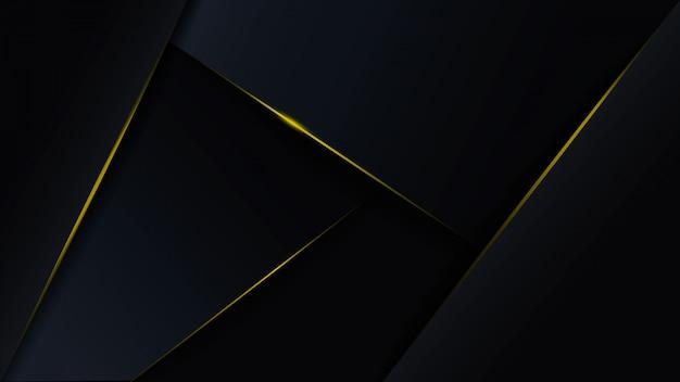 Fondo azul oscuro poligonal de lujo abstracto con líneas de oro.