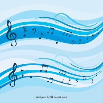 Fondo azul de pentagrama con notas musicales