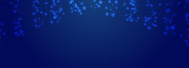 Fondo azul de pnoramic del vector de la nieve blanca. diseño de copo de nieve mágico brillante. banner de puntos sutiles. patrón de nevadas que caen.
