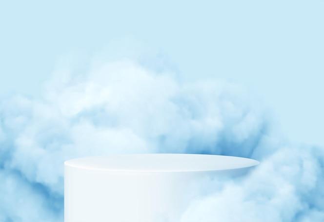 Fondo azul con un podio de producto rodeado de nubes azules.