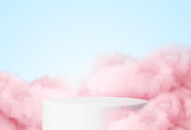 Fondo azul con un podio de producto rodeado de nubes rosas.