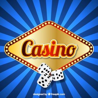 Fondo azul de rayas con cartel luminoso de casino y dados