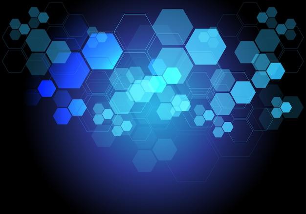 Fondo azul de la red digital de los datos de la tecnología ligera del hexágono.