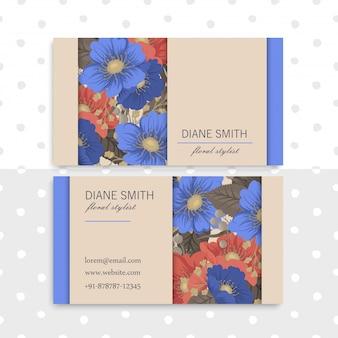 Fondo azul y rojo de tarjetas de visita