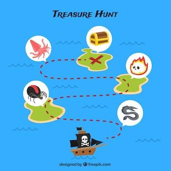 Fondo azul con la ruta del tesoro pirata