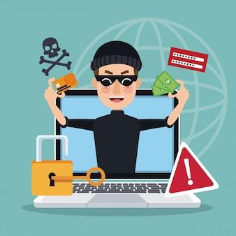 Fondo azul silueta del mundo global con ordenador portátil y ladrón hombre pirata robar ataque