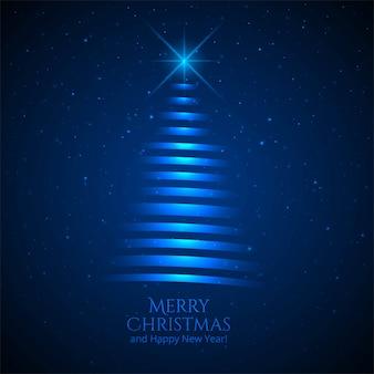 Fondo azul de la tarjeta del árbol de navidad