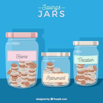 Fondo azul de tarros con ahorros