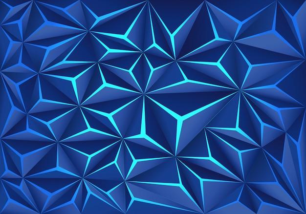 Fondo azul de la tecnología de la luz de la grieta del polígono.