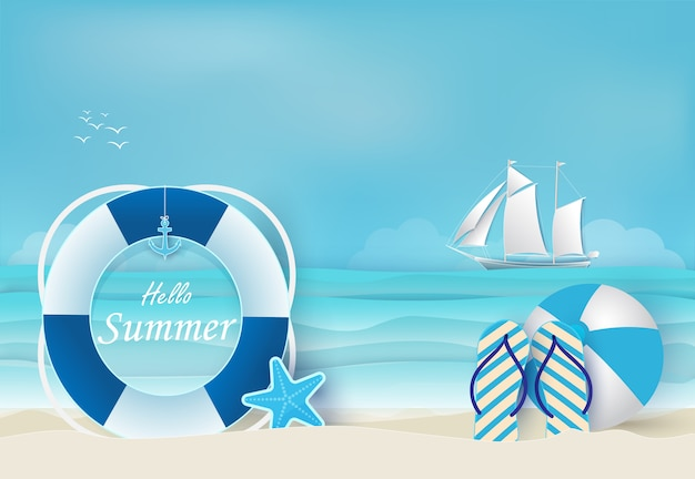 Fondo azul de vacaciones de verano