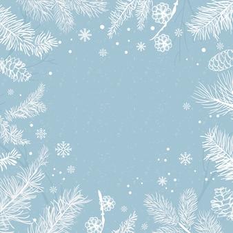 Fondo azul con vector de decoración de invierno