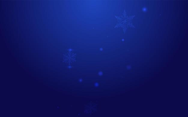 Fondo azul del vector de las estrellas del resplandor. invitación de tormenta de nieve sutil blanca. fondo de pantalla de nevadas de invierno. ilustración de copos de navidad.