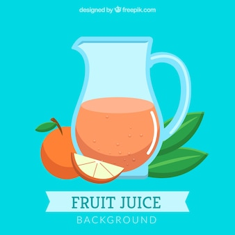 Fondo azul con zumo de naranja en diseño plano
