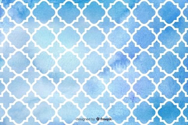 Fondo de azulejos de mosaico azul acuarela