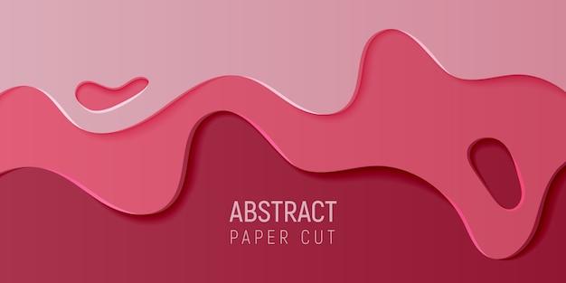 Fondo de baba de arte abstracto de papel carmesí. banner con fondo abstracto limo con ondas de corte de papel de color rosa y vino.