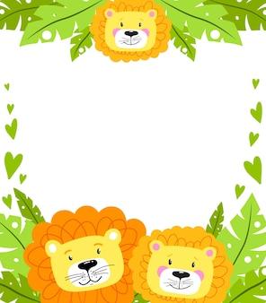Fondo de baby shower con leones y hojas tropicales.