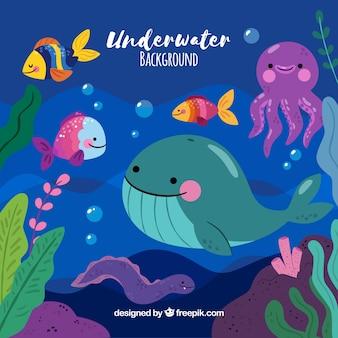 Fondo bajo el agua con animales marinos