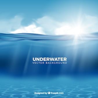 Fondo bajo el agua en estilo realista