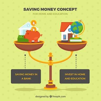 Fondo de balanza con elementos de ahorro