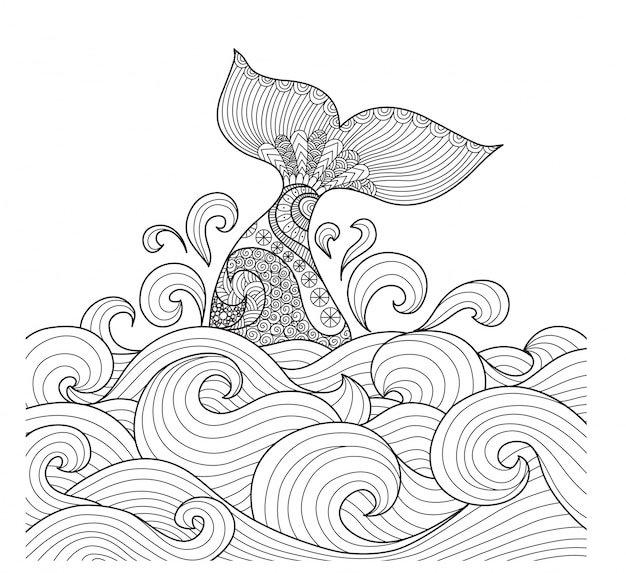 Fondo de ballena dibujada a mano